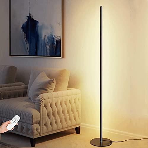 Lámparas De Pie LED Sala De Estar Regulable 150CM 20W Con Control Remoto 1200 Lúmenes Negro Moderno Creativo Único Perfecto Para Iluminación/Dormitorio Oficina Lámpara De Ahorro De Energía