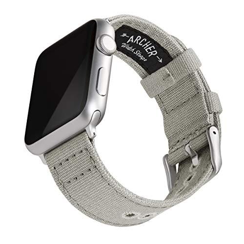 Archer Watch Straps   Correas Reloj Lona para Apple Watch   para Hombre y Mujer (Gris Ceniza, Plata, 42/44mm)