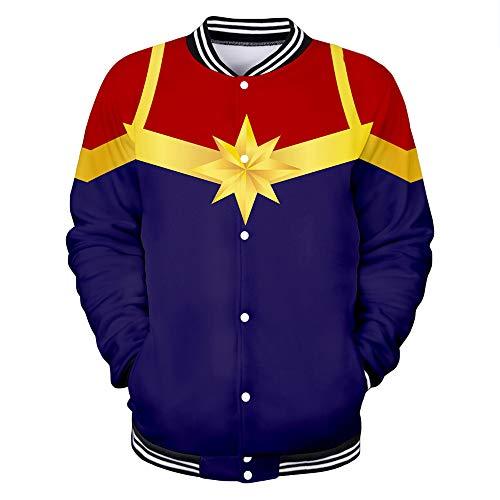 Captain Marvel Abrigo Clásico Confort Chaqueta Personalidad Moda generosa Preferida Caliente Escudo Fino Chaquetas (Color : A04, Size : S)