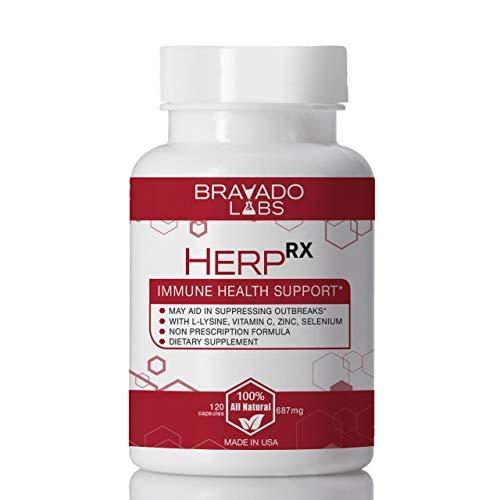 Premium Herpes Treatment Supplement - HerpRX - with L-Lysine, Vitamin C and Zinc - Cold Sore Treatment - Anti-Herpes L Lysine Supplement for Adults - Herpes Immune Support - Shingles Treatment