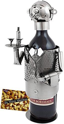 BRUBAKER Weinflaschenhalter Flaschenständer Weinkellner Deko-Objekt Metall mit Grußkarte für Weingeschenk