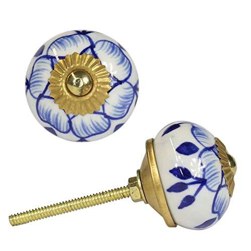 Oriental Galerie Runder Porzellangriff Blau Weiß Blumen ähnlich Strohblumenmuster Möbelgriff Keramikknauf Porzellan Keramik Knauf Knopf Messing B11