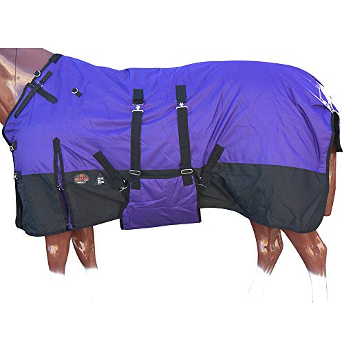 HILASON 72 in 1200D Winter Waterproof Poly Horse Blanket Belly Wrap Purple