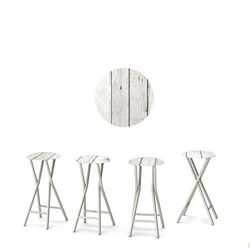 "Best of Times 13169W2401 White BARN Wood 30"" Padded Bar Stools-Set of (4)"