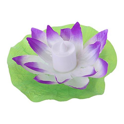 Exing Bougies Chauffe-Plat LED Floating Lotus Fleur Lampe de Jardin Décoration de Jardin Pourpre