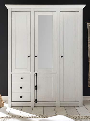 Guenstigaufen, armadio in stile rustico, in pino bianco, con 4 ante girevoli, con specchio, 147 x 206 cm, per camera da letto (bianco armadio 1)