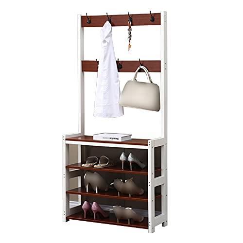 LM-Coat rack XINGLL Percheros Pie Perchero, 3 En 1, Muebles Almacenamiento Grandes, Estante 4 Niveles, Ideal Pasillo, Dormitorio Oficina Ropa Zapatos Bolso Sombrero Almacenamiento Estante