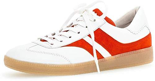 Gabor Damen Sneaker, Frauen Low-Top Sneaker,Comfort-Mehrweite,Optifit- Wechselfußbett, weibliche Lady Ladies feminin,Weiss/Koralle,40.5 EU / 7 UK