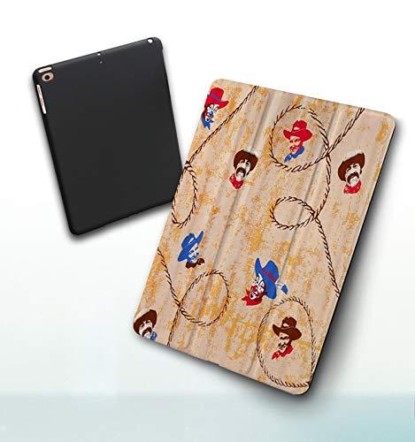 Funda para iPad 9,7 Pulgadas, 2018/2017 Modelo, 6ª / 5ª generación,Arte de Pintura Vintage con Payaso Vaquero de Personas, Smart Leather Stand Cover with Auto Wake/Sleep