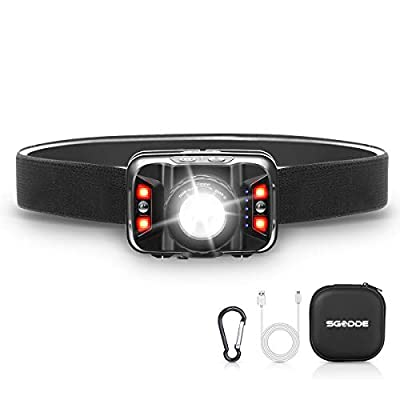 SGODDE Rechargeable Headlamp, 2019 New Motion Sensor LED Headlamp Flashlight(Zoomable), 1800mAh 5 Modes, Adjustable Focus USB LED Head Torch Red Light for Night Fishing, Camping, Hiking, Outdoors