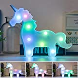 Rainbow Unicornio Light LED Decorative Night Light Wall Kids Unicorn Toys Decoration for Living Room,Bedroom,Home, Christmas (Battery Operated) (Colorful Unicorn Body)
