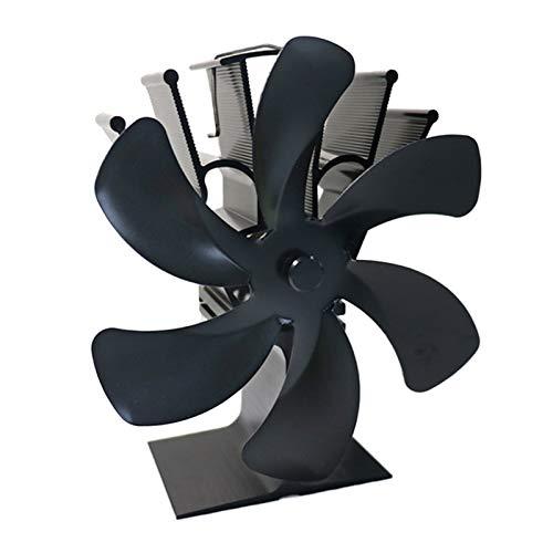 perfk Estufa de Leña con Ventilador para Chimenea Eco de 6 Aspas con Motores Gemelos