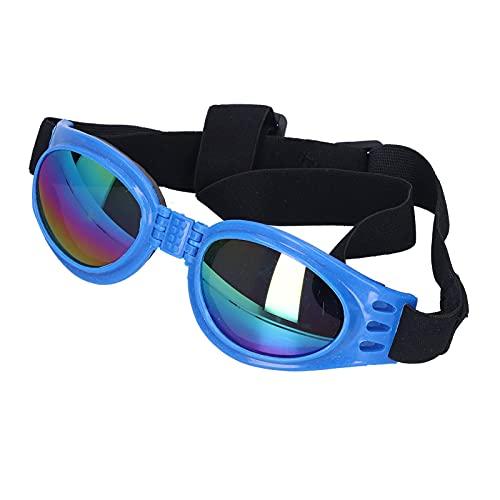 Pssopp Gafas para Perros Gafas de Sol Plegables para Mascotas Impermeables a Prueba de Viento Protección UV Gafas para Cachorros Gafas de Sol Elegantes para Perros Grandes y medianos(Azul)
