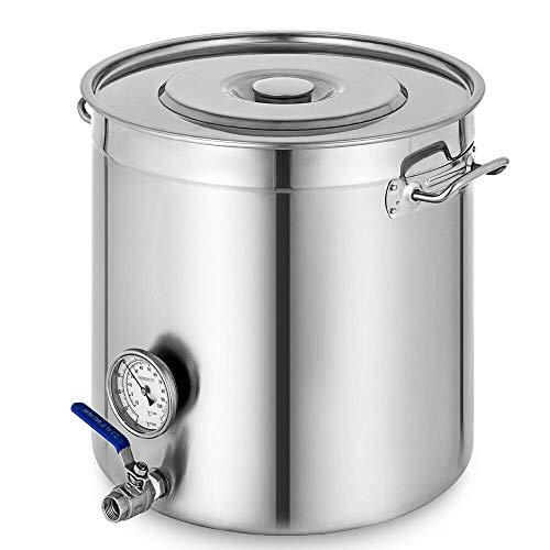 Futchoy 70L Edelstahl Gärbehälter mit Deckel Thermometer und Wasserhahn Kochtopf Edelstahltank mit Auslauf Gärkeller Fermenter Fermentierkessel Maischekessel Gärkessel für Bierbrauen Wein gären