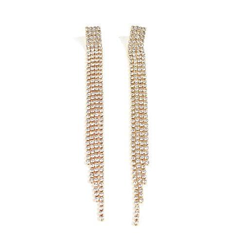 PendientesJoyería Moda Pendientes De Diamantes Borla Diamantes De Imitación Pendientes De Diamantes Completos Dorado