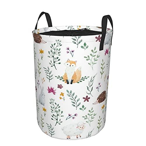 Cesta de almacenamiento, patrón de acuarela para niños, animales, habitantes del bosque, cesto de lavandería grande plegable con asas 19'x14'
