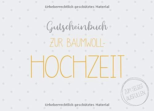 Gutscheinbuch zur Baumwoll-Hochzeit zum selbst ausfüllen: 20 Gutscheine als Geschenk zur Baumwollenen Hochzeit, Geschenkidee zum 2. Hochzeitstag