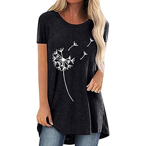 Guanghuansishe Damen T-Shirt Sommer Kurzarm Oberteile Blumen Motiv Tunika Shirt Pusteblume Drucken Lose Rundhals Tshirt Bluse Top Langarmshirts Frühjahr Sommer Pullover Rundhals-T-Shirt (XL, Black-1)