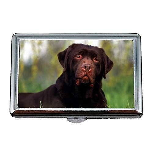 Niedlicher Edelstahlkasten oder Zigaretten-Kasten, Pudel-Hund Labrador-Hund hd, Kreditkarte-Halter-Fall