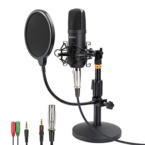 Professional Studio Condenser Microphone, Computer PC Microphone Kit with 3.5mm XLR/Pop Filter/Scissor Arm Stand/Shock Mount for Professional Studio Recording Podcasting Broadcasting, Black