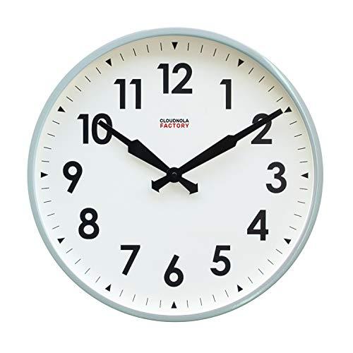 Cloudnola Factory klok – Stationsklok met cijfers – Moderne Designer wandklok – Grijs, 45 cm diameter, tikt niet, werkt op batterijen