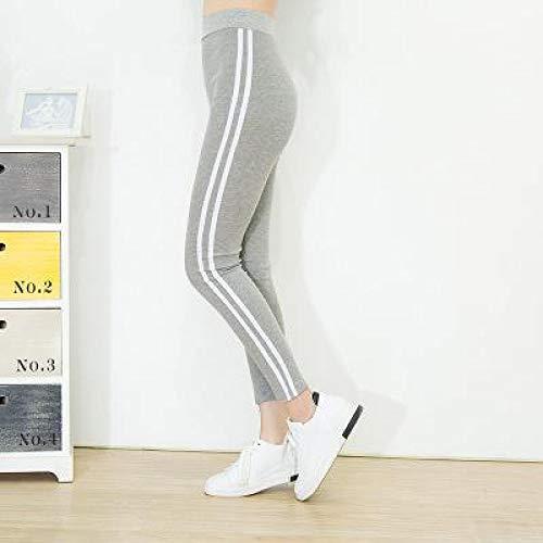 AOZLOVEC Leggings de fitness de punto Pantalones de cintura elástica alta a rayas Pantalón de vendaje Pantalones de lápiz para mujer Talla única DDK02