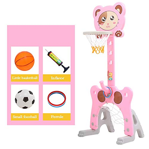 Basketball Stand, Indoor Liftable Children's Basketball Rack Multifunctional Children's Home Basketball Box Early Education Toys For 1-6 Years Old Kid Easy to Adjust ( Color : Pink , Size : One size )