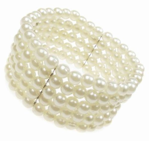5 Row Stretch Pearl Bead Corsage Cuff Bracelet New