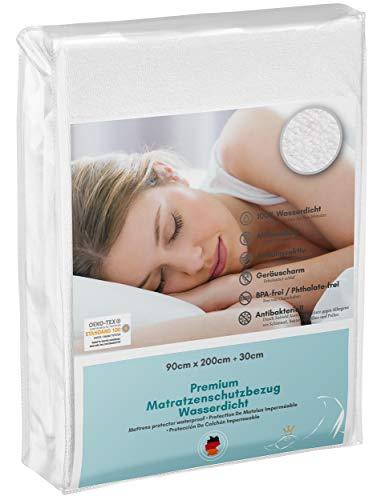 Luxusfeder - Matratzenschutz wasserdicht 90x200 cm - Matratzenschoner Öko-Tex - Bester Nässeschutz - SiShield® Hygieneschutz - optimal für Allergiker - atmungsaktiv