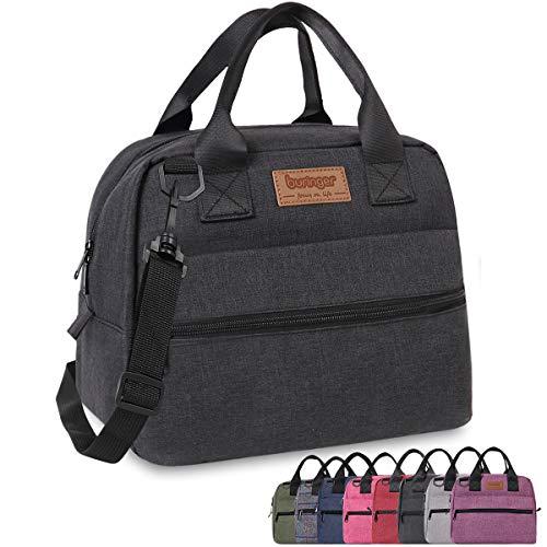 Buringer Insulated Lunch Bag Box Cooler Totes Handbag with Pockets and Removable Adjustable Shoulder Strap For Man Woman Work Shopping (Black with Shoulder Strap)