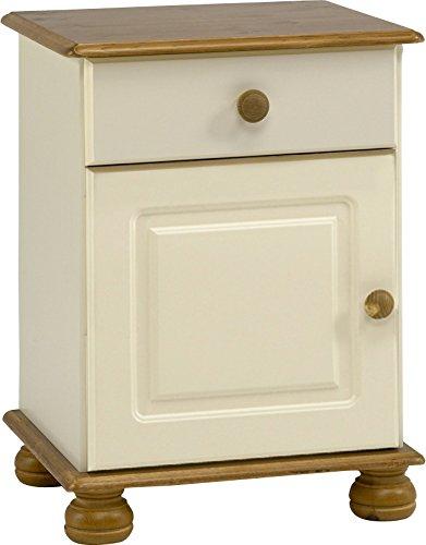 Steens Furniture Richmond - Comodino con 1 porta e 1 cassetto, in legno di pino, colore: panna