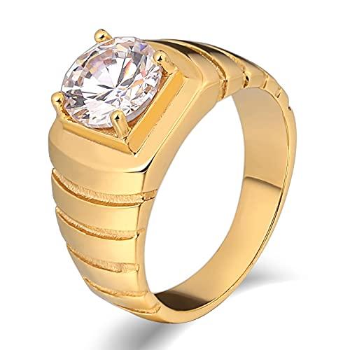 Socoz Anillo de hombre de acero, con la vuelta de plata, anillos de boda de oro para hombre,
