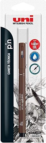 Caneta Técnica Uniball PIN 0.1mm, Sépia, Blister com 1 unidade