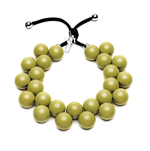 BallsMania Elastische Halskette, Farbe Golden Olive, Idea, Halskette für Damen, Schmuck für Damen, Modeschmuck, 100% Made in Italy