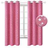 Package Includes: Set of 2 silver star foil printed blackout curtains and 2 tiebacks; Each panel measures 42 Inch wide by 63 Inch long. Grommet Construction: Each curtain panel has 6 silver metal grommets on top. Each grommet inner diameter is 1.6 in...