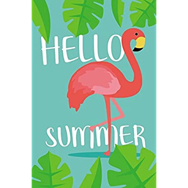 Juvale Garden Flag – Hello Summer Flag Banner, Summer Holiday Seasonal Outdoor Lawn Decoration, Flamingo Illustration, Double Sided Printed, 12.5 x 18.6 Inches
