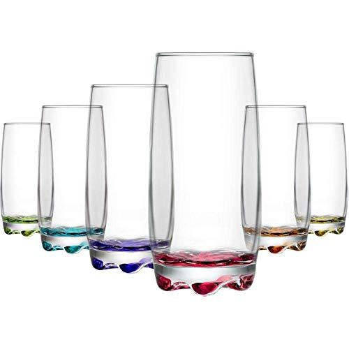 Lav Coloure Highball - Juego de 6 vasos de cristal multicolor contemporáneos, 390 cc, para agua, zumos, cóctel, etc