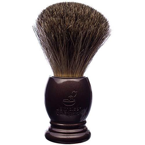 La Maison du Barbier Blaireau Marron Nacré - Poils Pur Gris Taille 12-100% Fabriqué en France