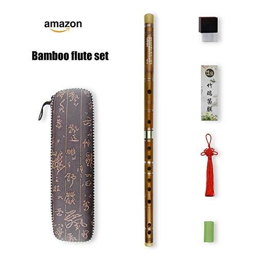 D key Dizi Bitter Bambusflöte für Anfänger mit freier Membrane & Kleber & Protector Set traditionelles chinesisches Instrument (D key/Bitter Bambus)