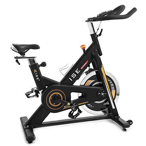 ISE Vélo d'appartement de Fitness Cardio Exercice Bike Intérieur, Poids d'inertie de 15 KG avec Programme et l'Ecran Silencieux, Guidon et Siège Réglables (Or)