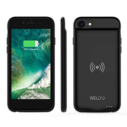 WELUV - Funda con batería Qi para iPhone 6, 6S, 7 y 8, ultrafina, compatible con carga inalámbrica Qi, 3000mA, recargable, funda para teléfono móvil, color negro