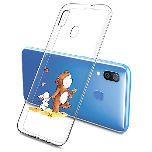Oihxse Compatible pour Silicone Samsung Galaxy S6 Coque Crystal Transparente TPU Ultra Fine Souple Housse avec Motif [Elephant Lapin] Anti-Rayures Protection Etui(B3)