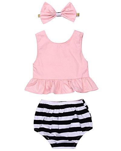3Pcs Baby Girls Pink Ruffle Tank Vest Top+Striped Shorts+Headband Outfits Set (6-12M(Tag90), Pink&Striped)