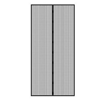 ECD Germany Moustiquaire Porte Noir - 100 x 210 cm - Montage Adhésif sans Perçage ni Vissage - Rideau Magnétique pour Porte de Balcon Patio Cave Couloir - Maille Anti Moustique Mouche Insecte Guêpe