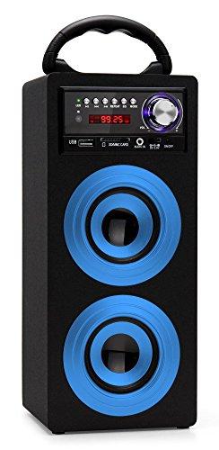 Beatfoxx Beachside BS-20BTB portabler Bluetooth-Lautsprecher tragbare Akku-Lautsprecherbox (USB/SD-Anschlüsse, UKW-Radio, AUX, Tragegriff, Fernbedienung) blau