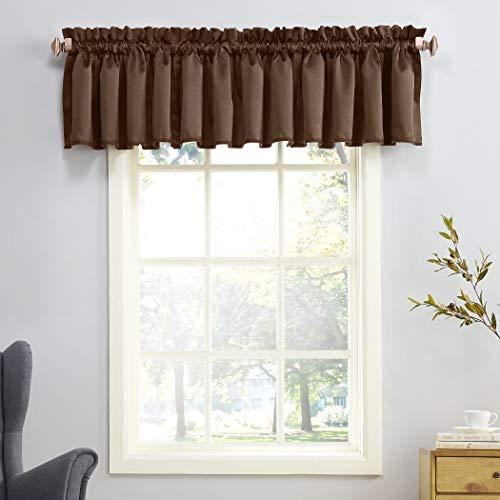 """Sun Zero Barrow Energy Efficient Rod Pocket Curtain Valance, 54"""" x 18"""", Chocolate Brown"""