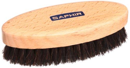 [サフィール] 高級靴の磨き上げに適した馬毛ブラシ ポリッシャーホースヘアブラシ 天然馬毛100% 靴磨き バッグ 手入れ メンズ ブラック