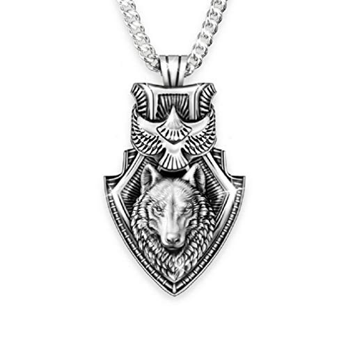 """Wolf Necklace for Men, Eagle Wolf Shield Necklace, Norse Viking Wolf Head Pendant Necklace with 25.6"""" Chain, Vintage Celtic Wolf Totem Amulet Necklace, Punk Animal Wolf Jewelry Gift for Men Boys"""