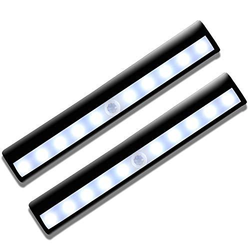 Bewegungsmelder-Licht, Schrank-LED-Lampe, wiederaufladbar per USB, 10 LEDs, automatisches An-/Ausschalten, tragbar, kabellos, zum Aufkleben überall für Schränke, Kleiderschränke, Treppen