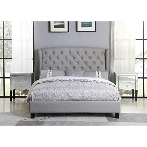 Best Master Furniture Yvette Upholstered Tufted with Wingback Platform Bed California King, Beige